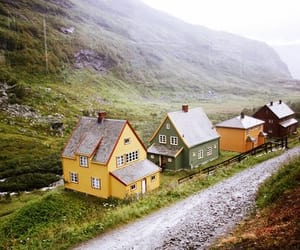 house, mountains, and vintage image
