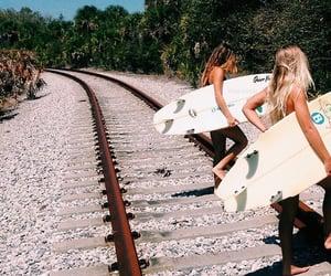 beach, girls, and nature image