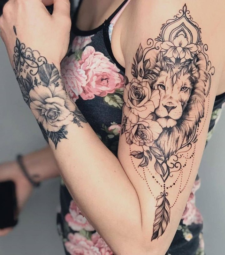 tattoo, lion, and ink image