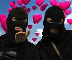 aesthetic, hearts, and ski mask image
