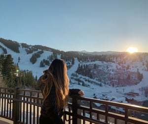 blonde, snow, and sun image