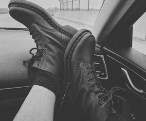 b&w, black & white, and boots image
