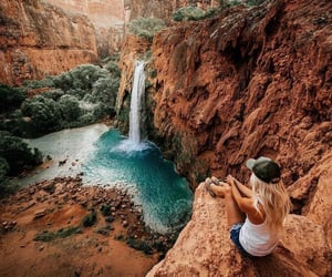 travel, waterfall, and photography image