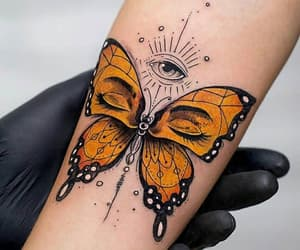 tattoo, butterfly, and eyes image