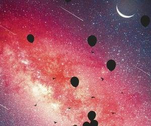 girl, stars, and balloons image