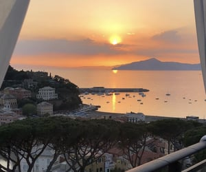 sunset, travel, and view image
