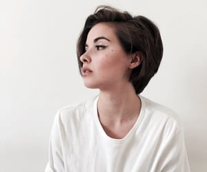 girl, short hair, and white image