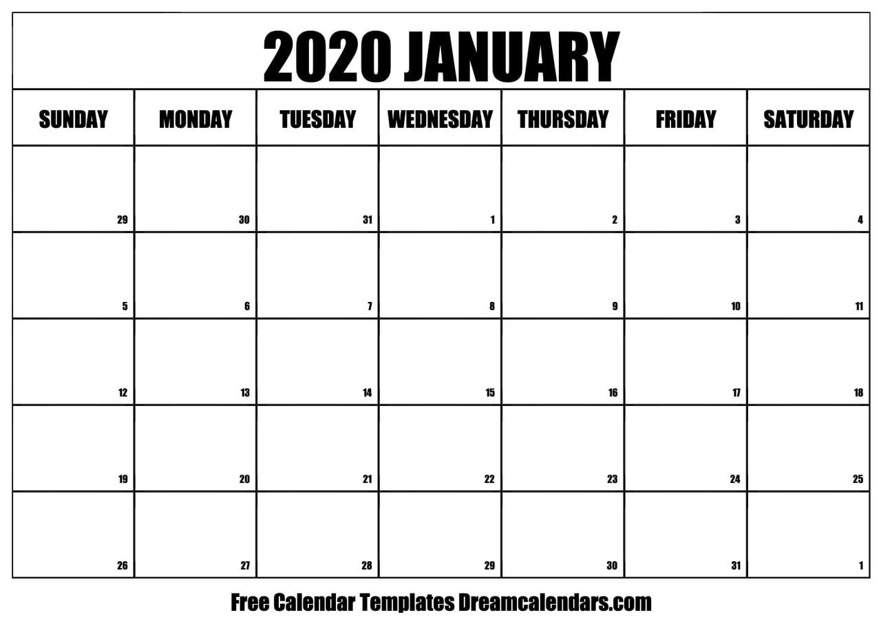 image regarding Calendar January Printable identified as Printable Blank January 2020 Calendar upon We Middle It