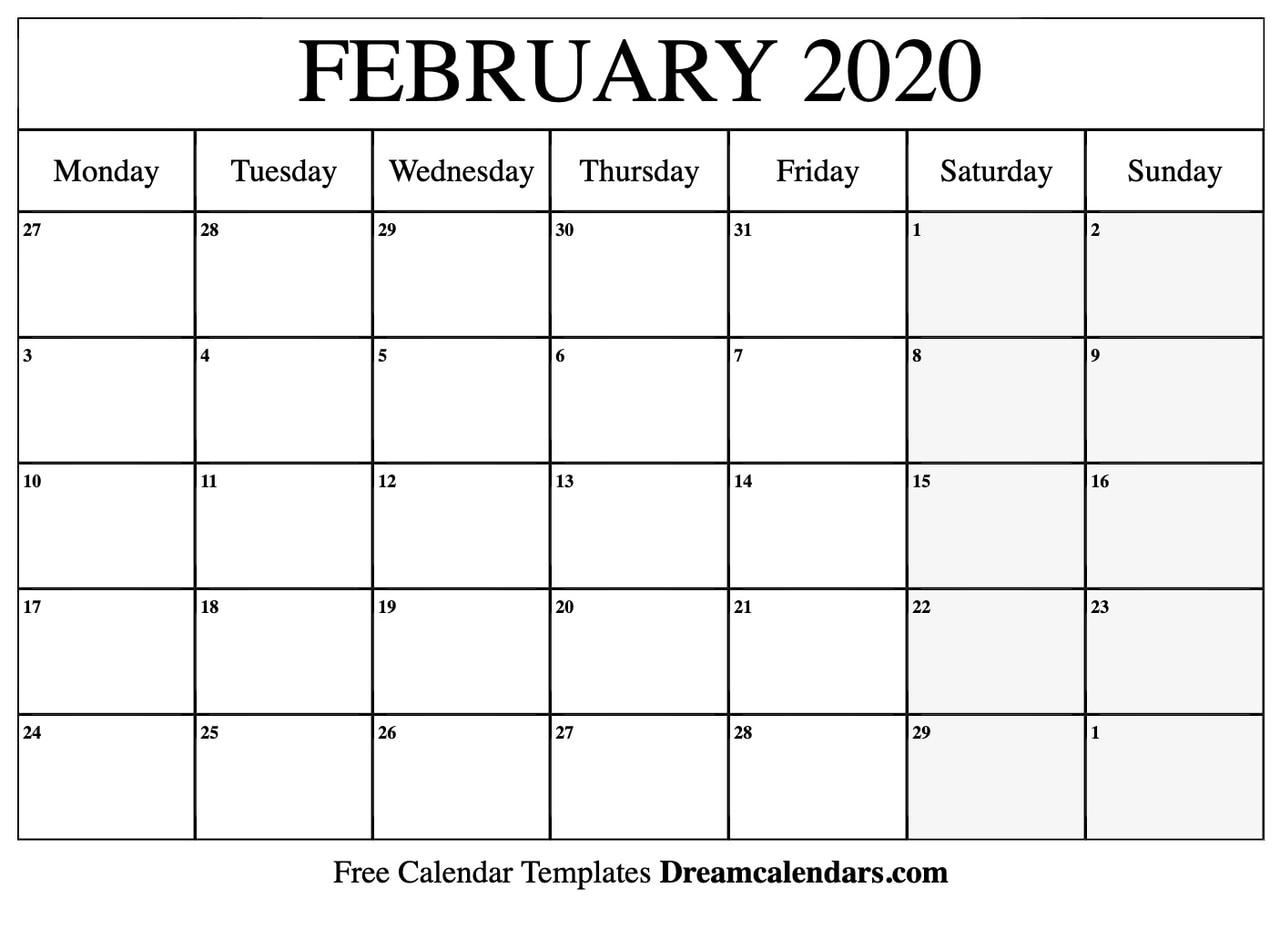 Free Calendar Printable Blank.Printable Blank February 2020 Calendar On We Heart It