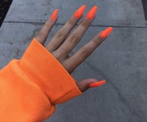 nails, orange, and beauty image