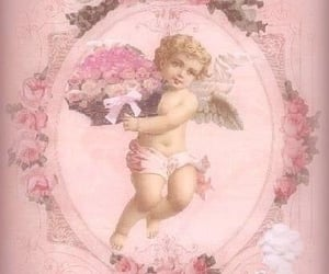 flowers, angel, and pink image