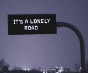 road, lonely, and black image