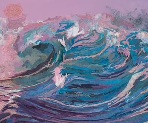 art, painting, and waves image