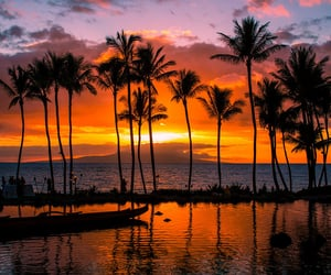 beach, sunset, and hawaii image