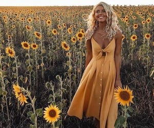 dress, sunflower, and girl image