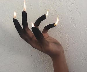 black, fire, and hand image