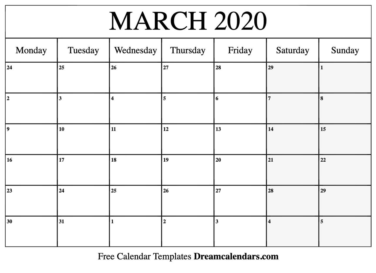Free Printable March 2020 Calendar.Printable Blank March 2020 Calendar On We Heart It