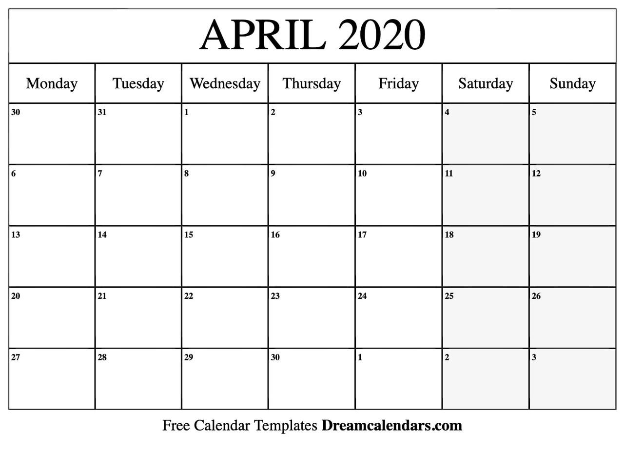photograph regarding Printable April named Printable Blank April 2020 Calendar upon We Center It