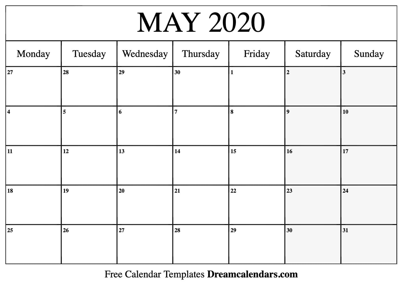 photograph regarding Printable May Calendars named Printable Blank May perhaps 2020 Calendar upon We Center It