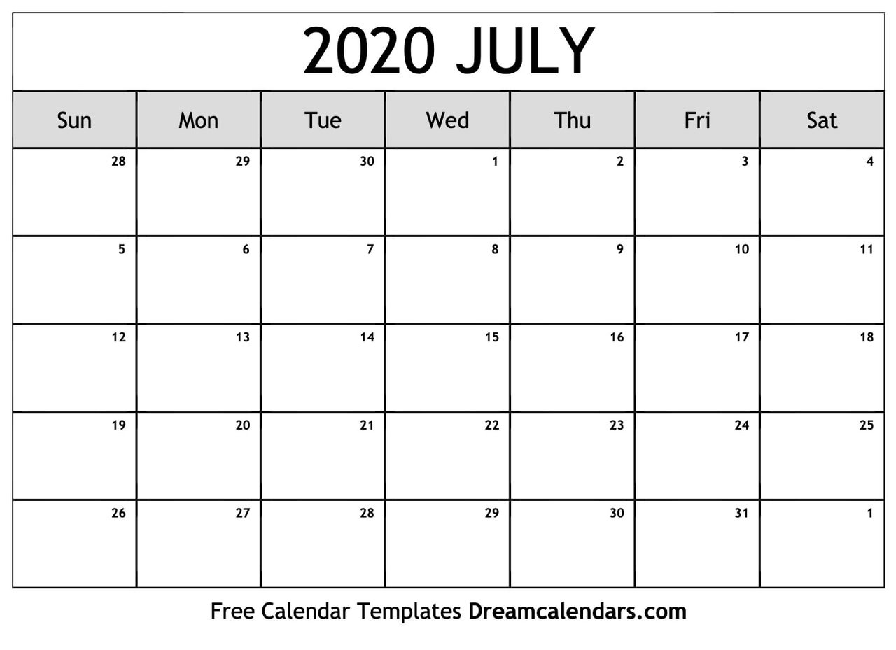 2020 Calendar July Printable Blank July 2020 Calendar on We Heart It