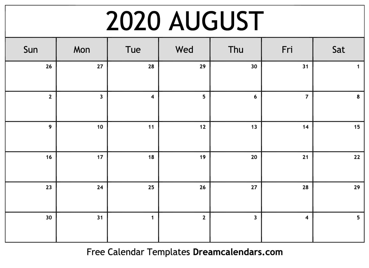 image about Printable 2020 Calendar referred to as Printable Blank August 2020 Calendar upon We Center It