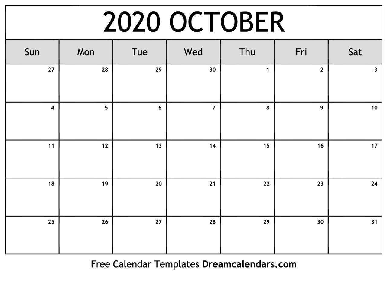 Printable Calendar October 2020.Printable Blank October 2020 Calendar On We Heart It