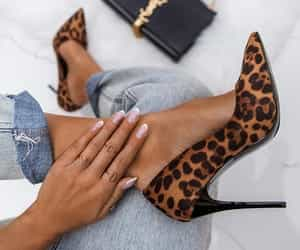 black, heels, and leopardo image