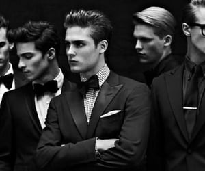 black and white, boy, and men image