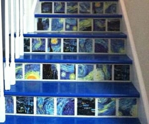 art, blue, and stairs image