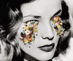 Lauren Bacall, flowers, and black and white image