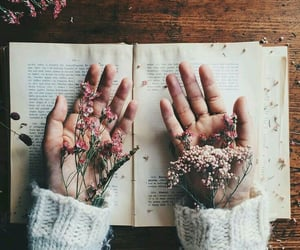 book, flowers, and hands image