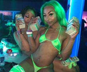 green neon money, ghetto cyber bestfriend, and girl mood inspo image