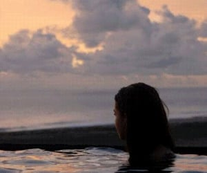 girl, water, and sunset image