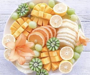 fruit bowl, kiwi, and orange image