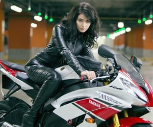 girl, moto, and motorbike image