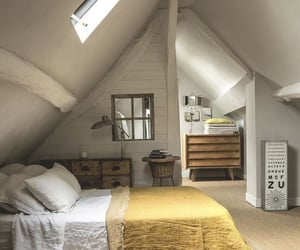 attic, bedroom, and interior decorating image