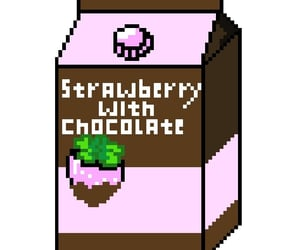 milk, pixel, and strawberry image