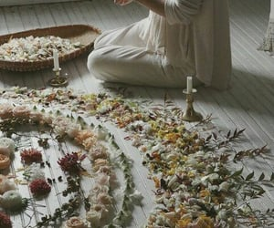 flowers, witch, and candle image