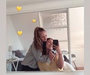 girls, heart, and yellow image