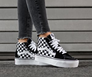 black and white, sneakers, and vans image