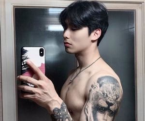 asian, korean, and tattoo image
