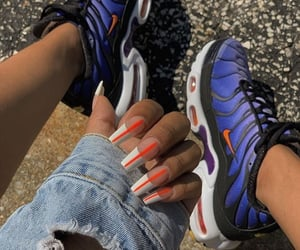 blue, nails, and nike image