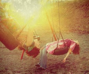 girl, swing, and friends image