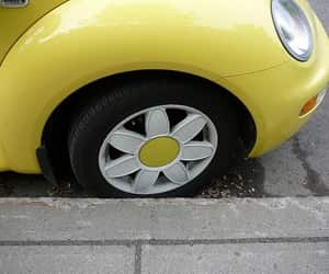 car, yellow, and flowers image
