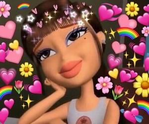 bratz, hearts, and emojis image
