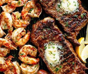 food, shrimp, and steak image