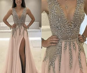 formal dress, prom gown, and beaded prom dress image