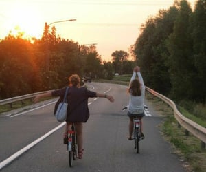 bike, sunset, and friends image