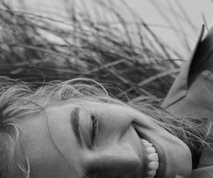 smile, black and white, and girl image