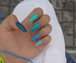 blue, mismatched nails, and nails image